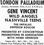 Palladium advertisement 1969